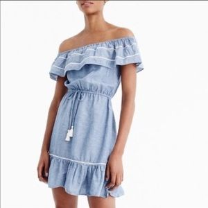 J. Crew Denim Ruffle Off The Shoulder Beach Dress